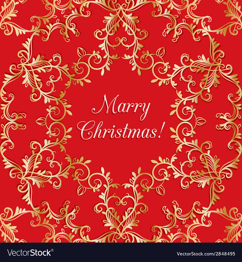 Christmas greeting card with snowflake red vector | Price: 1 Credit (USD $1)