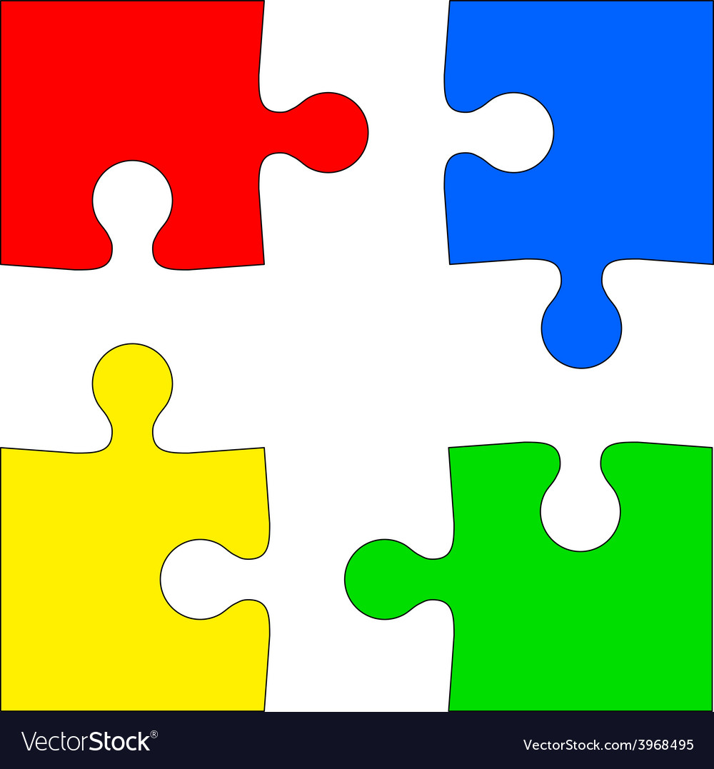 Four colored puzzle pieces on white background vector | Price: 1 Credit (USD $1)
