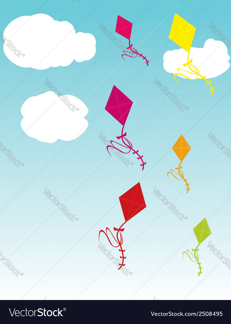 Kites in sky vector | Price: 1 Credit (USD $1)