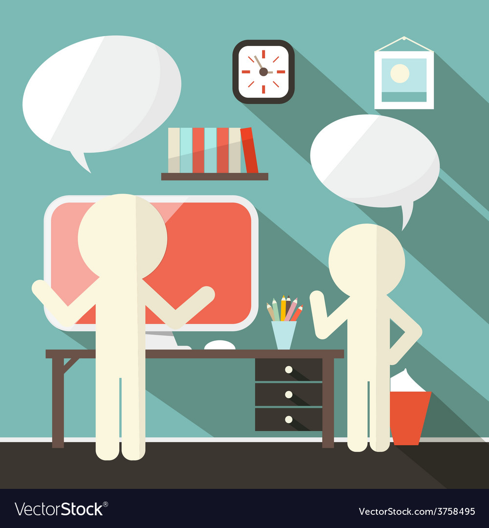 Office room with paper people vector   Price: 1 Credit (USD $1)