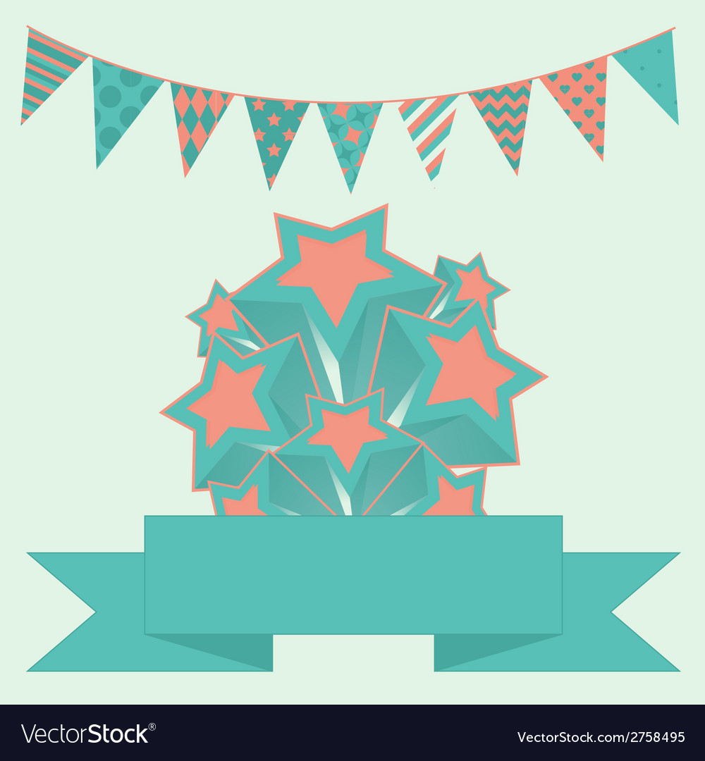 Party bunting background with stars and banner vector | Price: 1 Credit (USD $1)