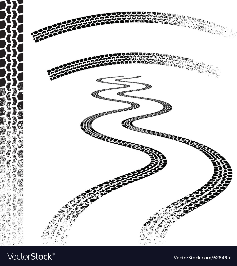 Set of high quality grunged tire tracks vector | Price: 1 Credit (USD $1)
