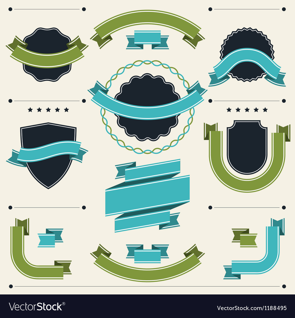 Set of retro badges labels ribbons and design vector | Price: 1 Credit (USD $1)