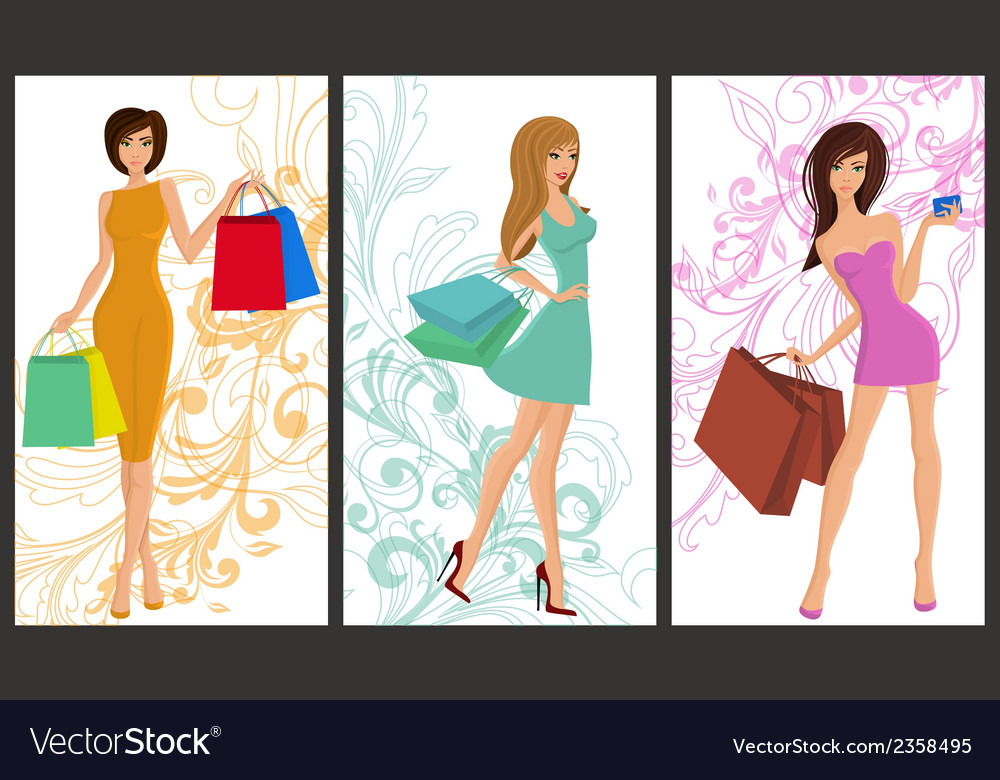 Shopping girl banner vector | Price: 1 Credit (USD $1)