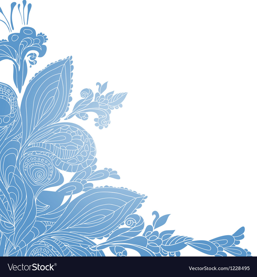 Vintage blue floral ornament background vector | Price: 1 Credit (USD $1)