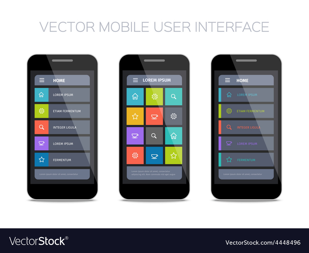 3 mobile user interface designs vector | Price: 1 Credit (USD $1)