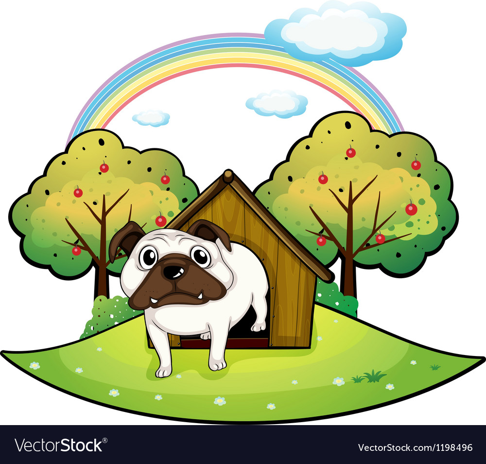 A dog inside a doghouse vector | Price: 1 Credit (USD $1)