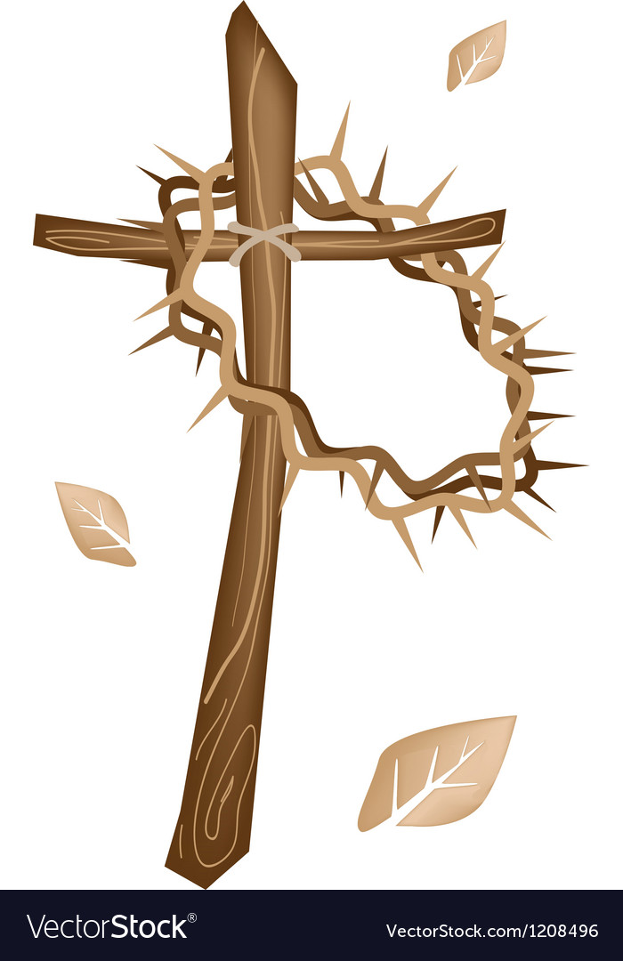 A wooden cross and a crown of thorns vector | Price: 1 Credit (USD $1)