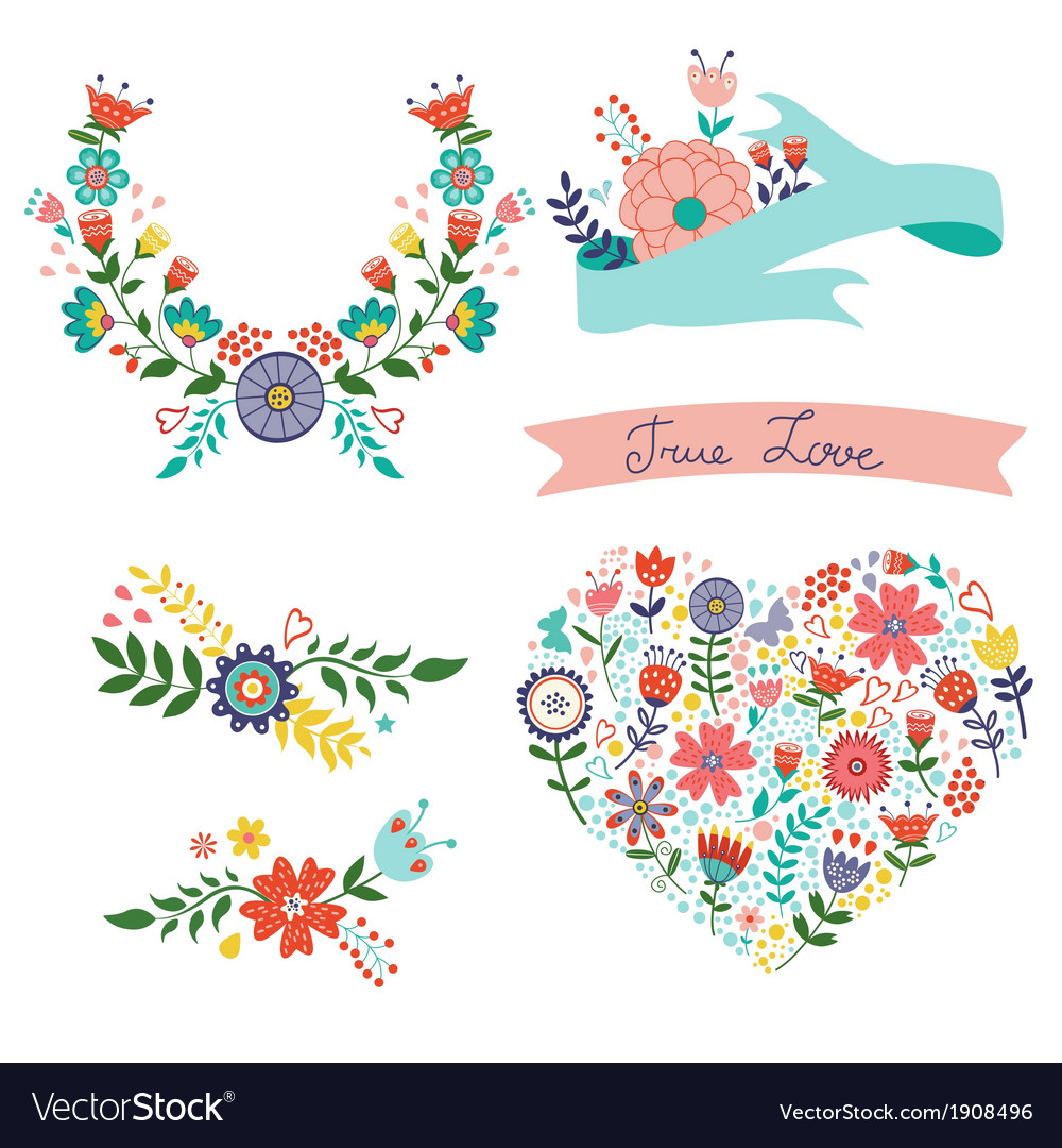 Beautiful collection of floral elements vector | Price: 1 Credit (USD $1)
