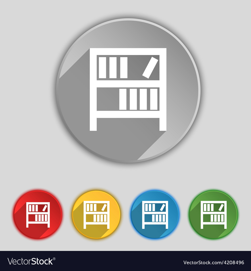 Bookshelf icon sign symbol on five flat buttons vector   Price: 1 Credit (USD $1)