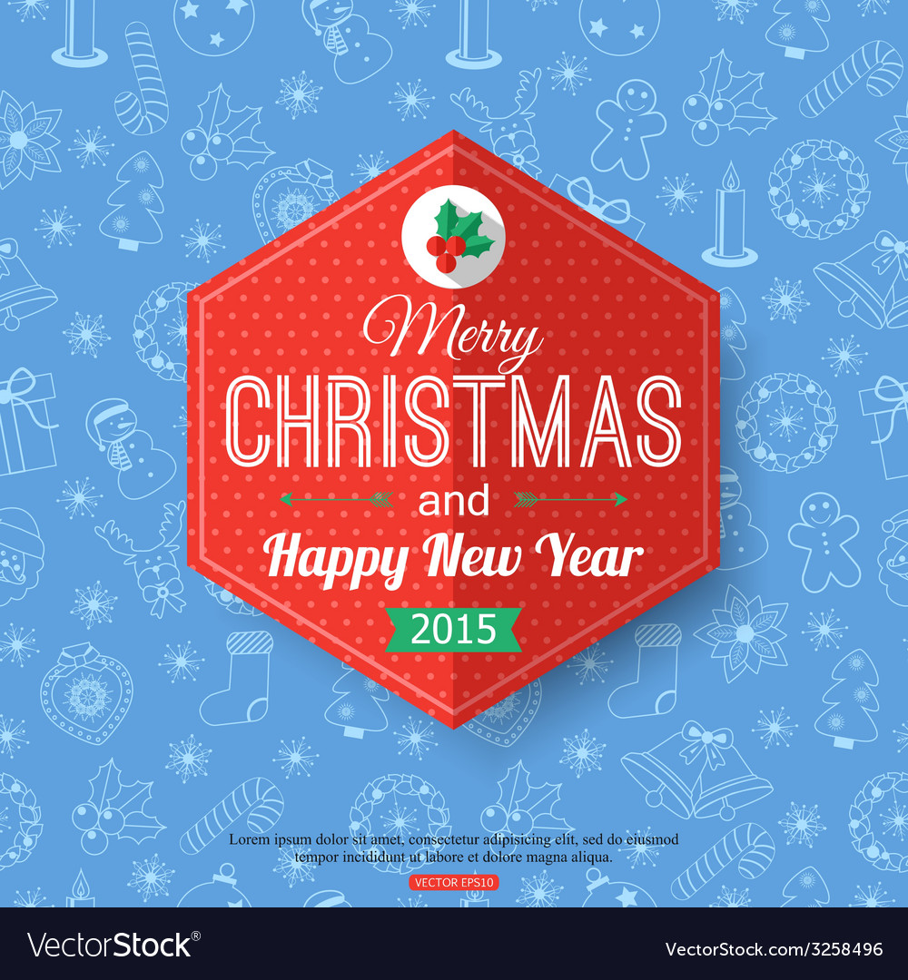 Christmas typographical label over blue seamless vector | Price: 1 Credit (USD $1)