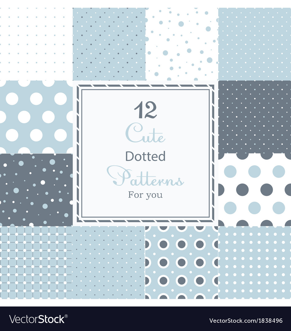 Cute different dotted seamless patterns vector | Price: 1 Credit (USD $1)