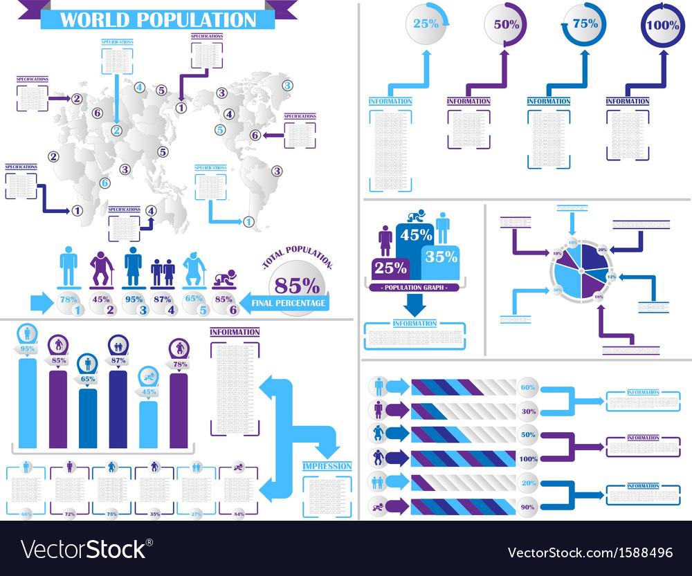 Infographic demographics 4 purple vector | Price: 1 Credit (USD $1)