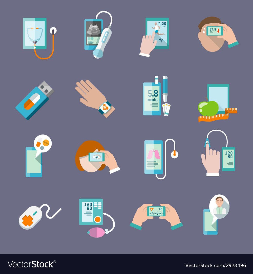Mobile health icons set flat vector | Price: 1 Credit (USD $1)