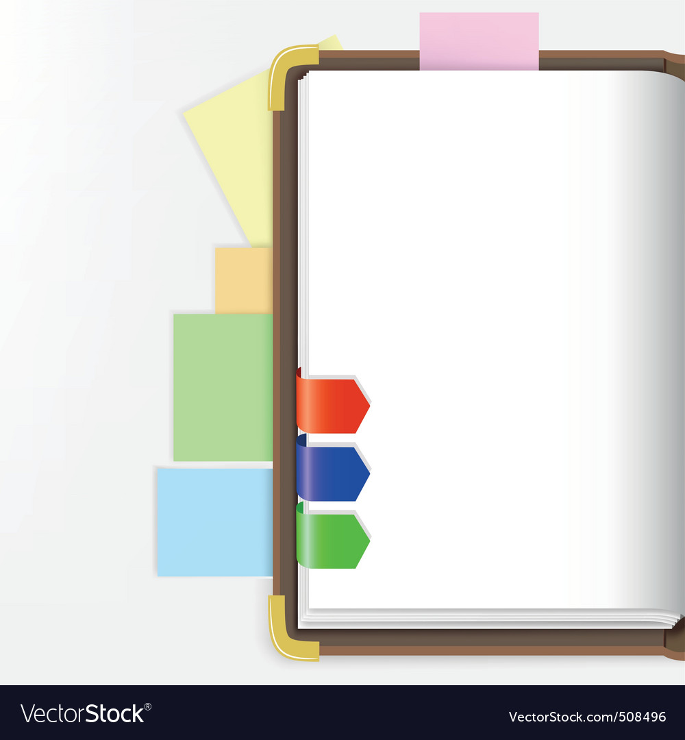 Opened dairy or notepad with bookmarks vector | Price: 1 Credit (USD $1)
