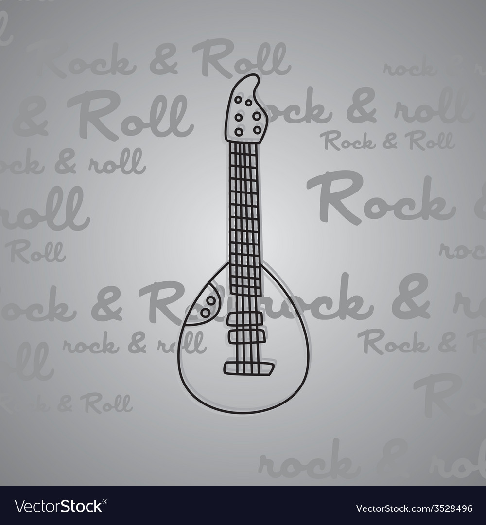 Rock and roll guitar theme vector | Price: 1 Credit (USD $1)