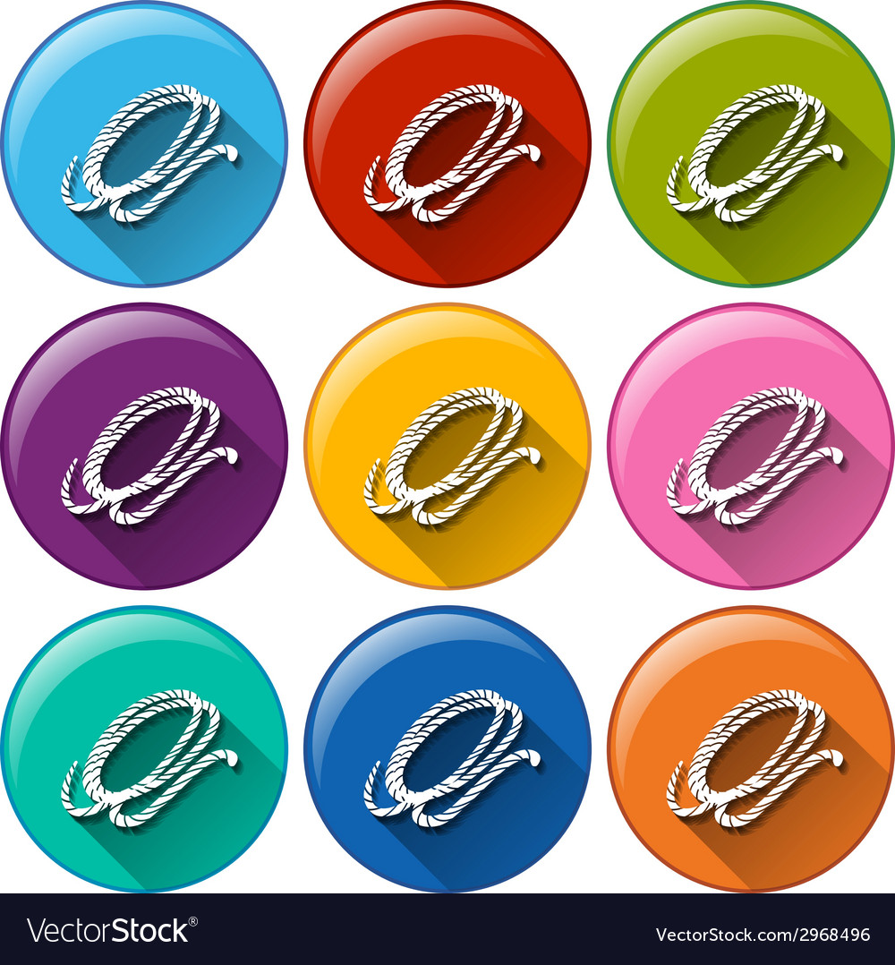 Round buttons with a camping rope vector | Price: 1 Credit (USD $1)