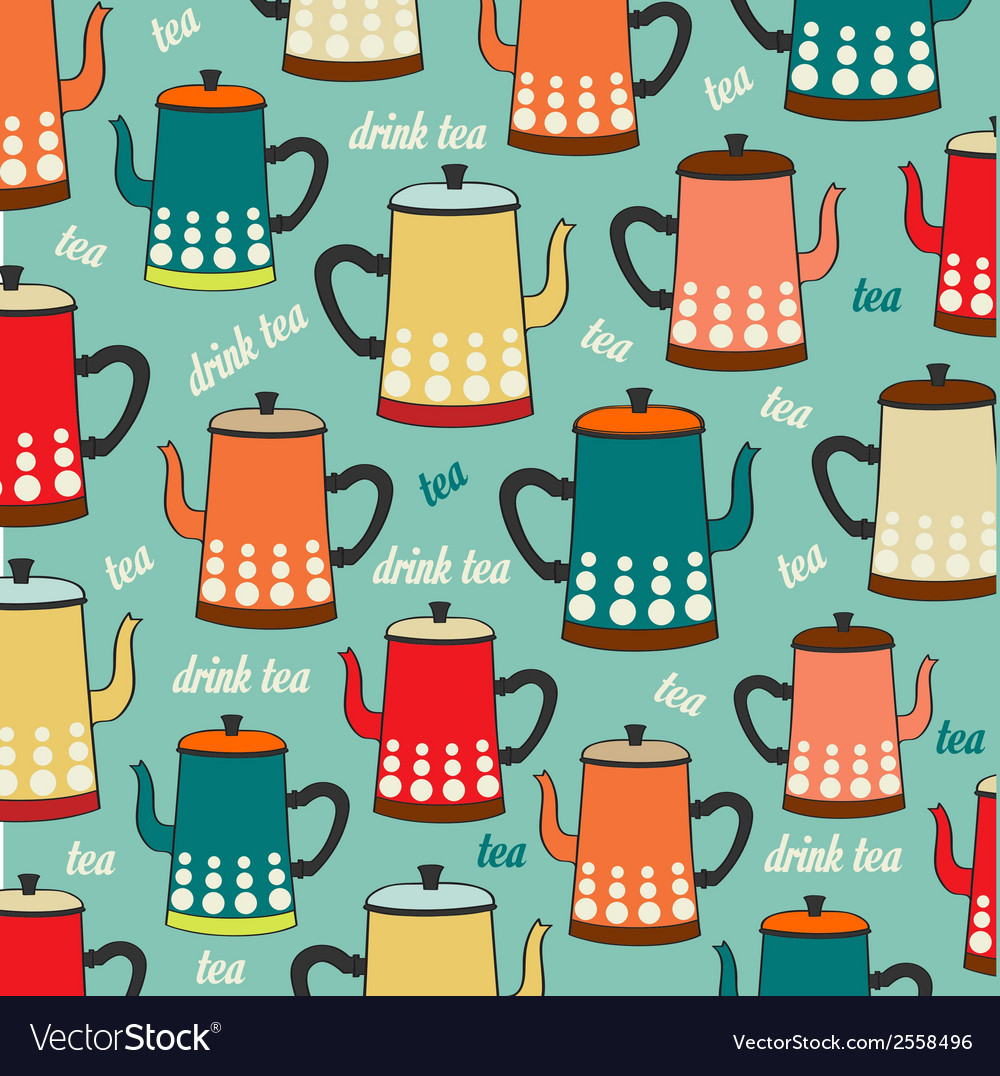 Seamless pattern with vintage kettles vector | Price: 1 Credit (USD $1)