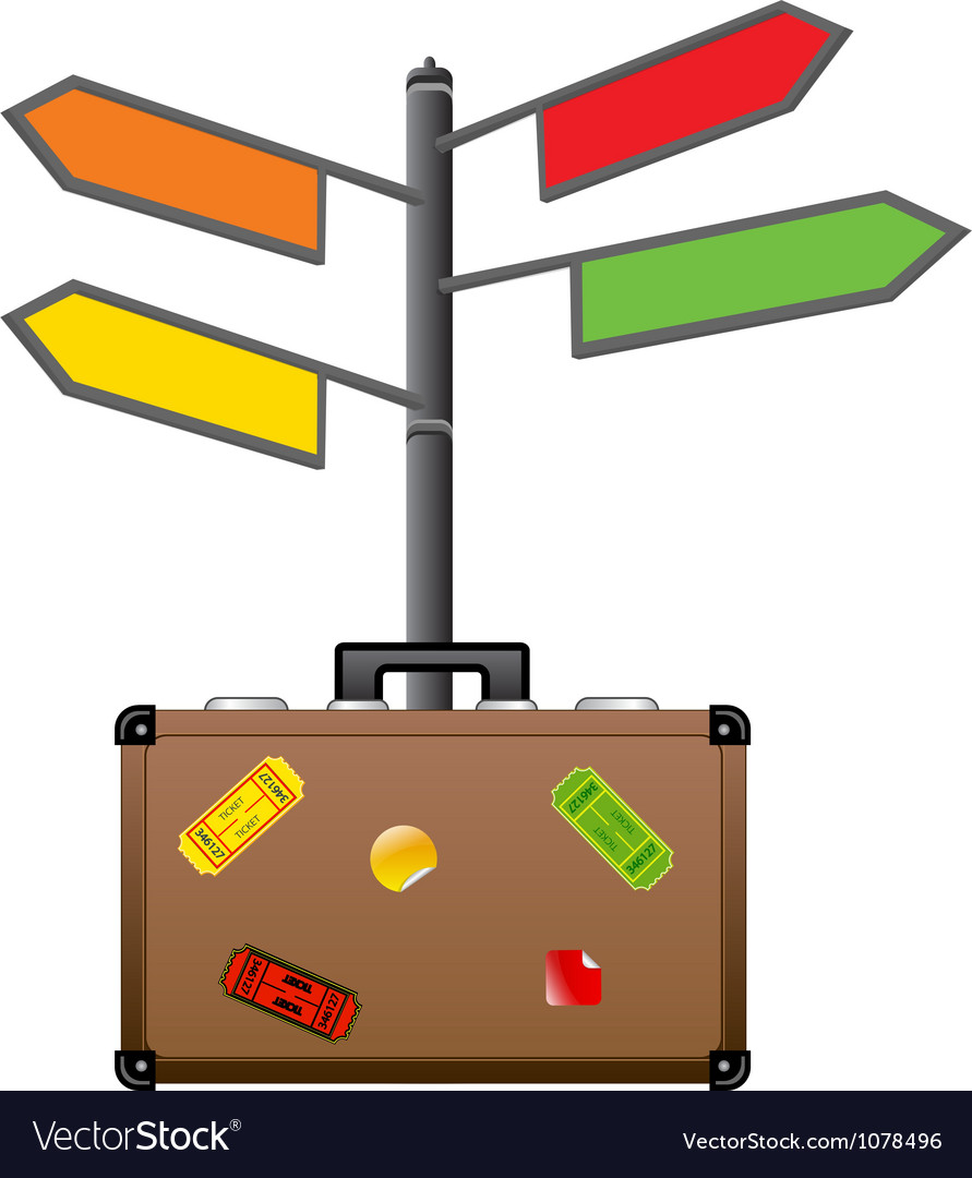 Street sign and travel suitcase tourism concept vector | Price: 1 Credit (USD $1)