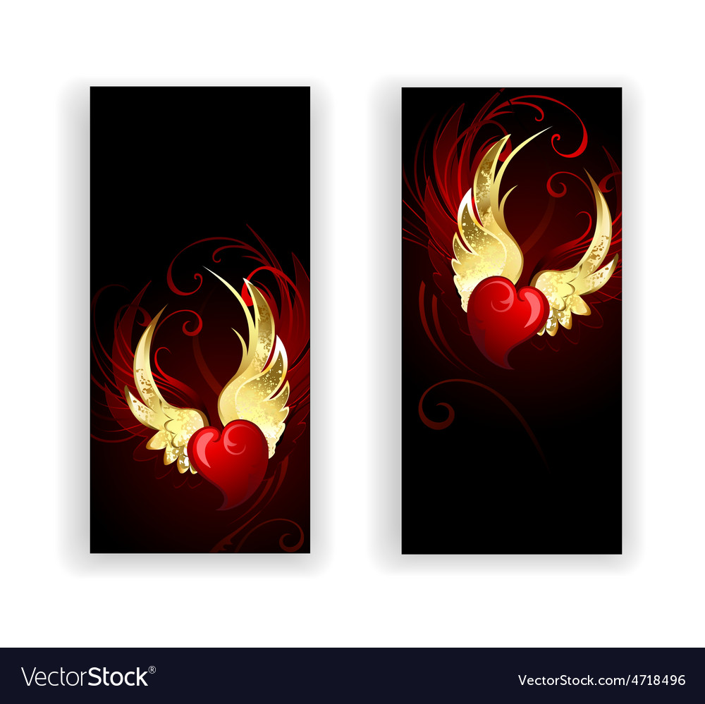 Two banners with hearts angel vector