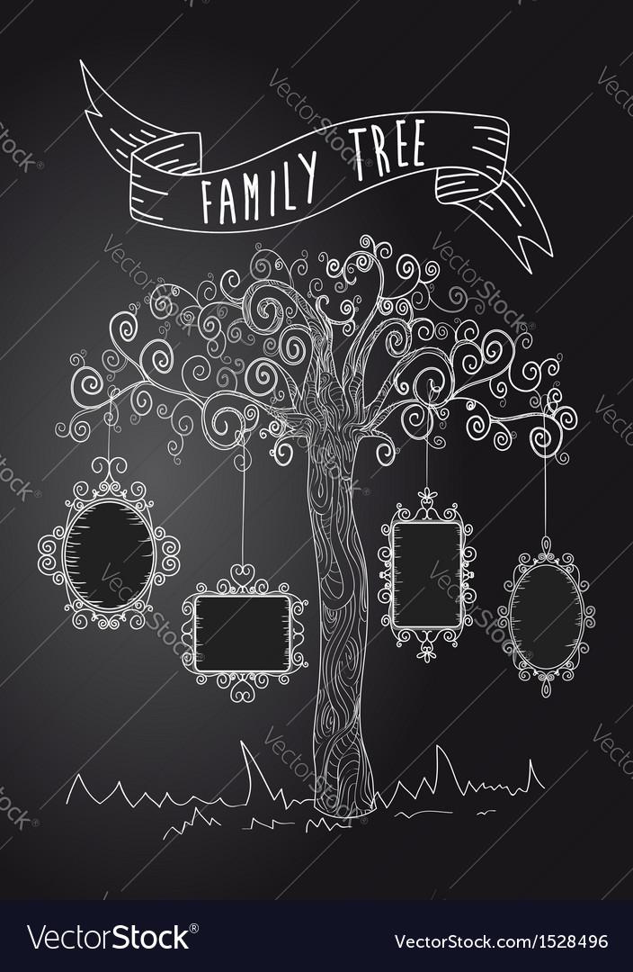 Vintage frames tree vector | Price: 1 Credit (USD $1)