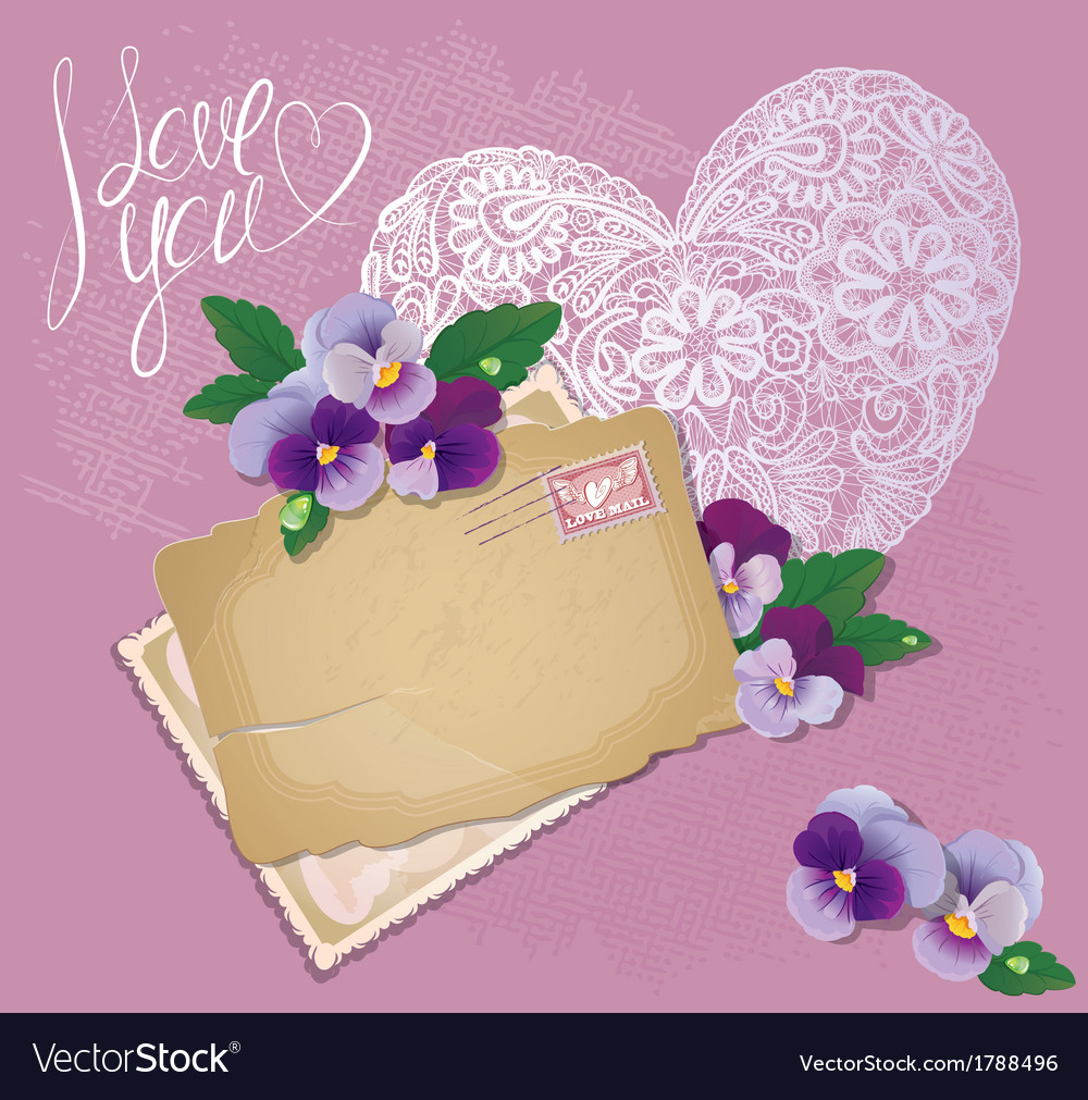 Vintage postcards beautiful pansy flowers vector | Price: 1 Credit (USD $1)