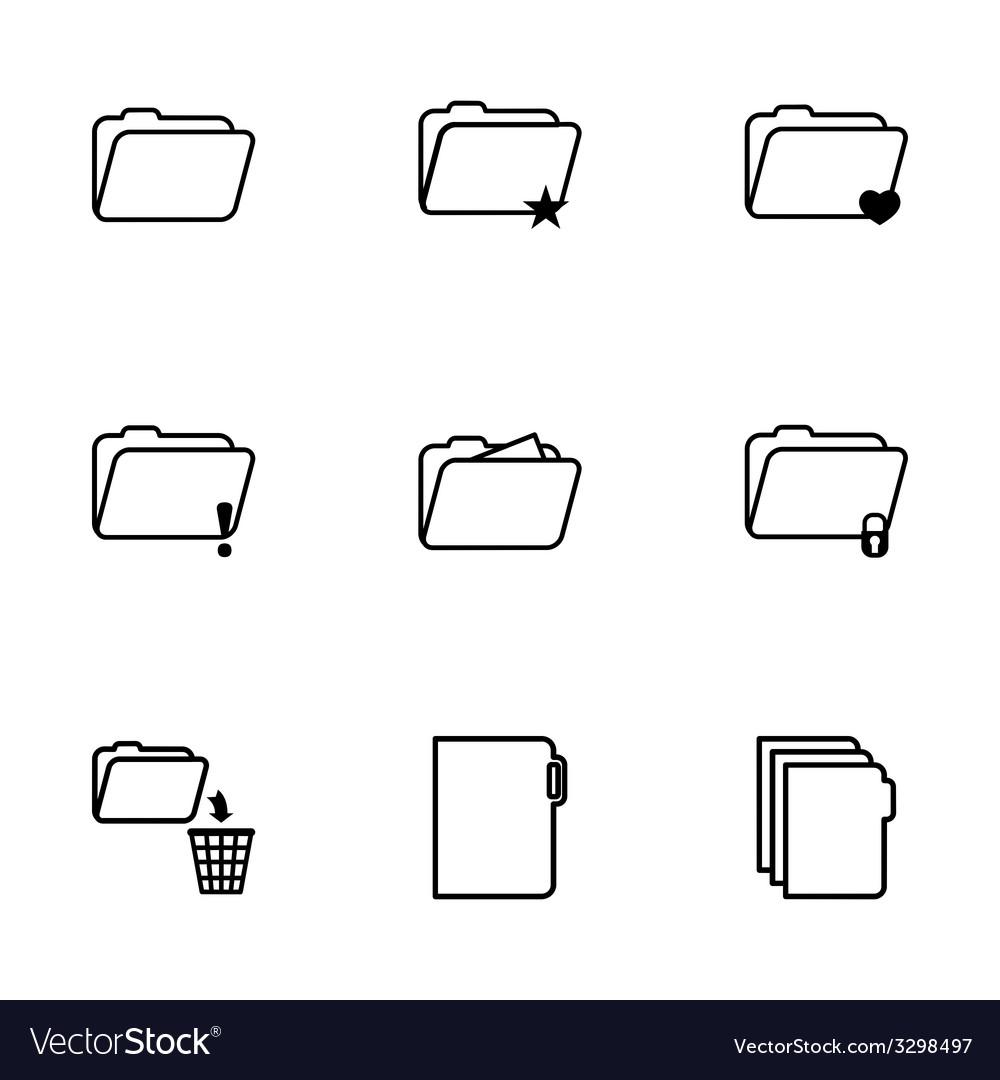Black folder icons set vector | Price: 1 Credit (USD $1)