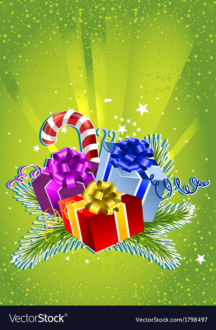 Card with colorful gift boxes vector | Price: 3 Credit (USD $3)