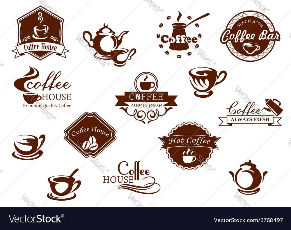 Coffee icons banners and logos in brown vector | Price: 1 Credit (USD $1)
