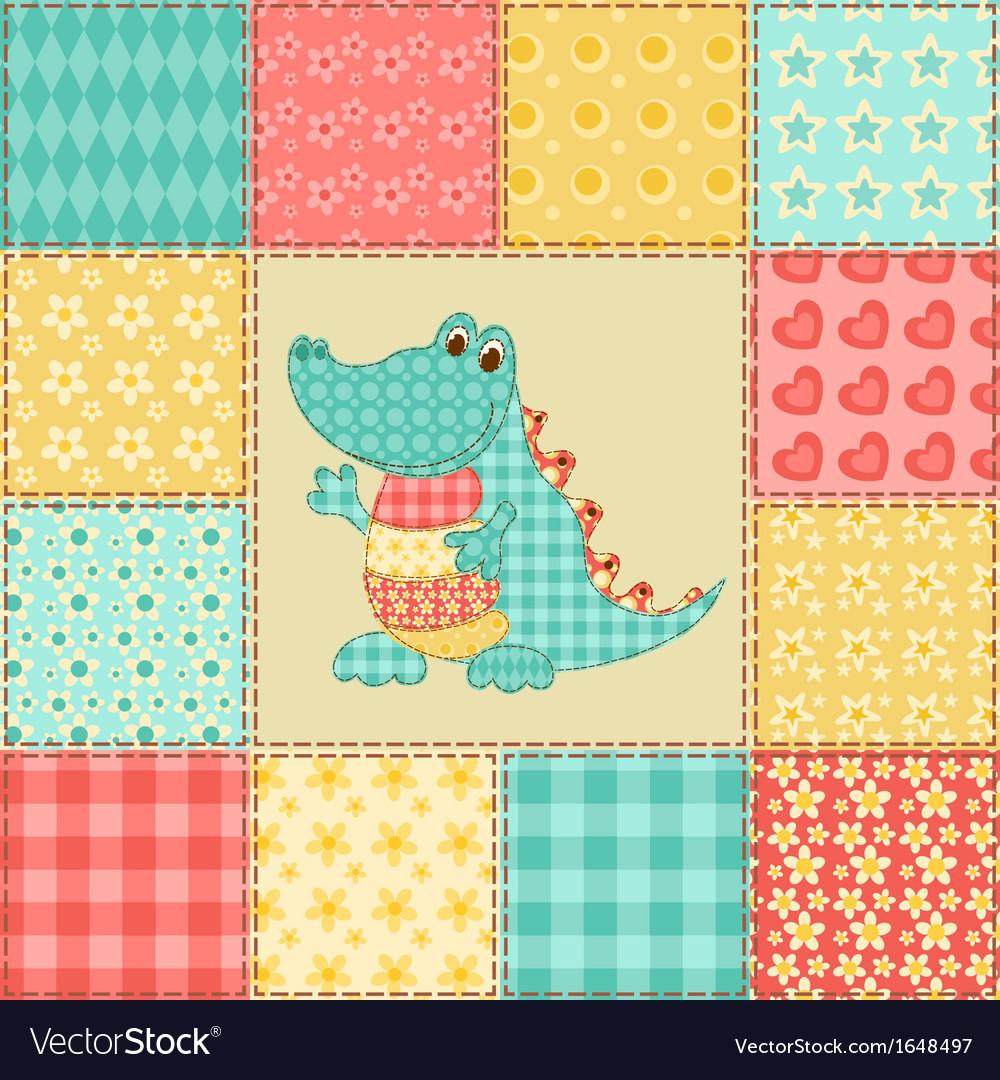 Crocodile patchwork pattern vector | Price: 1 Credit (USD $1)