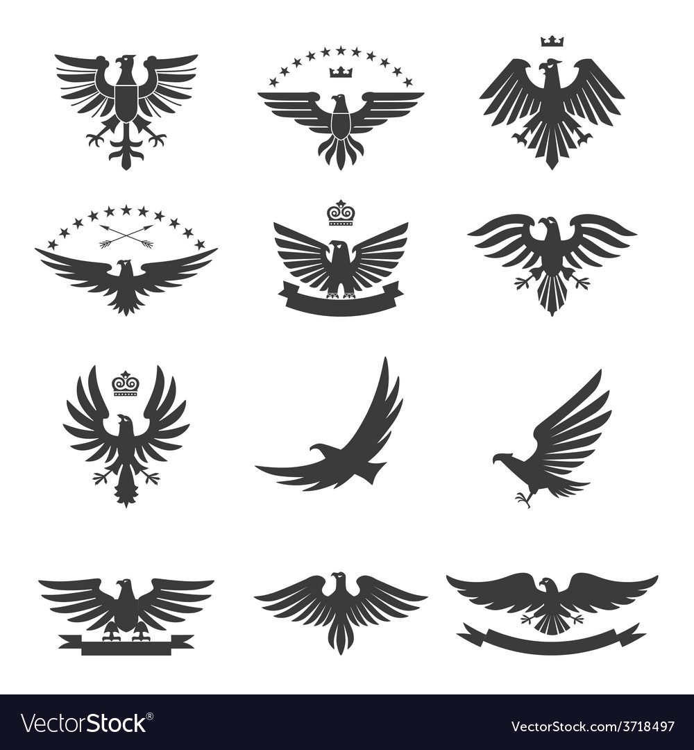 Eagles set black vector