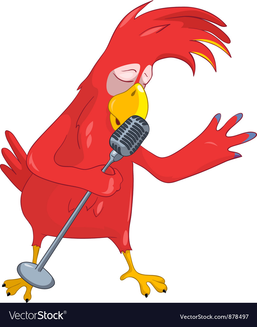 Funny parrot singing vector | Price: 1 Credit (USD $1)