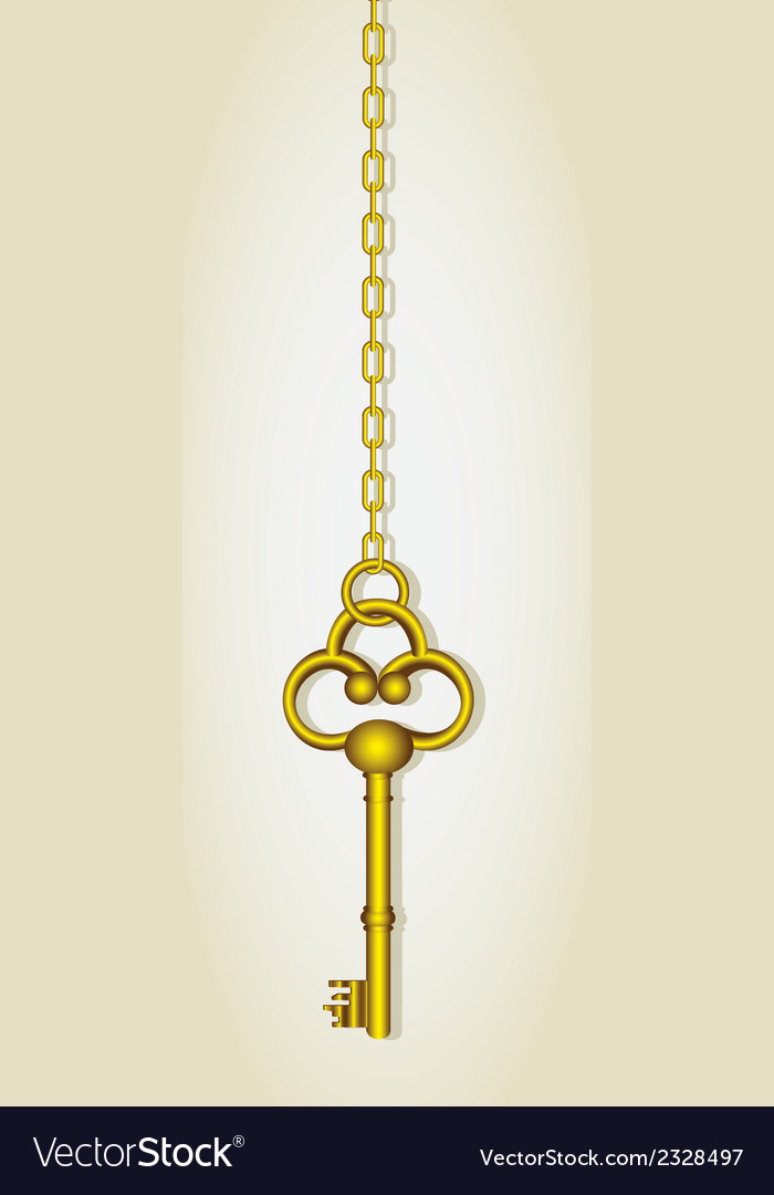 Old golden key dangling chain links vector | Price: 1 Credit (USD $1)
