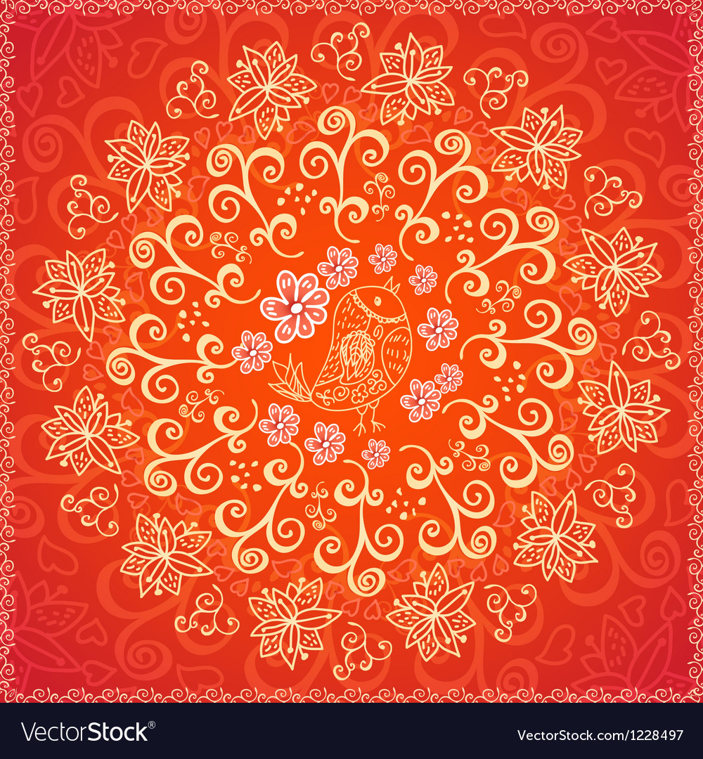 Red floral ornament background vector | Price: 1 Credit (USD $1)