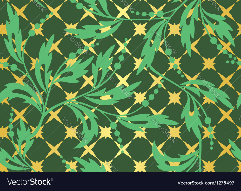 Seamless dark green pattern with golden tracery vector | Price: 1 Credit (USD $1)
