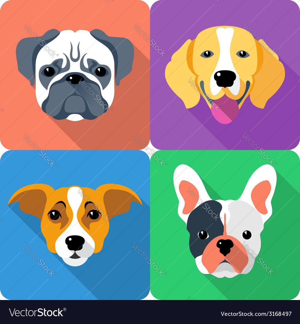 Set dog icon flat design vector   Price: 1 Credit (USD $1)