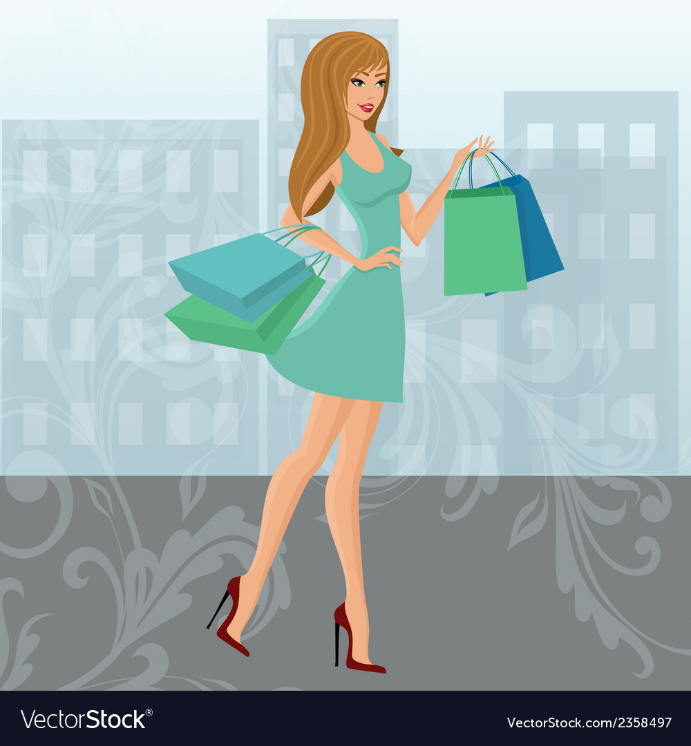Shopping girl urban vector | Price: 1 Credit (USD $1)