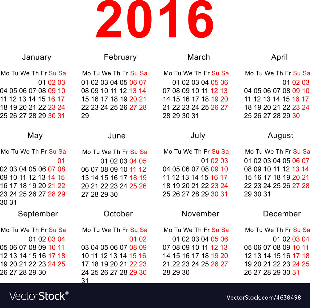 2016 calendar template horizontal weeks first vector | Price: 1 Credit (USD $1)