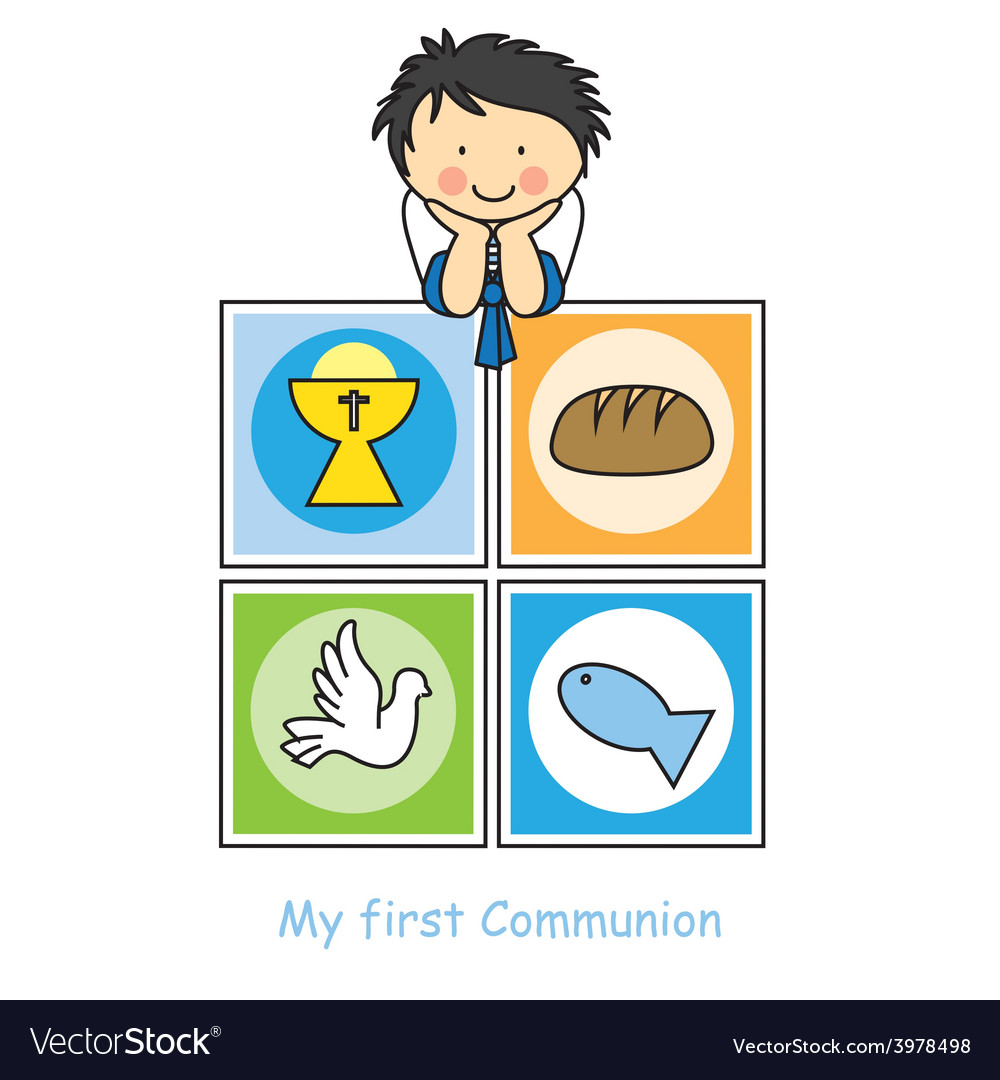Boy first communion card vector   Price: 1 Credit (USD $1)