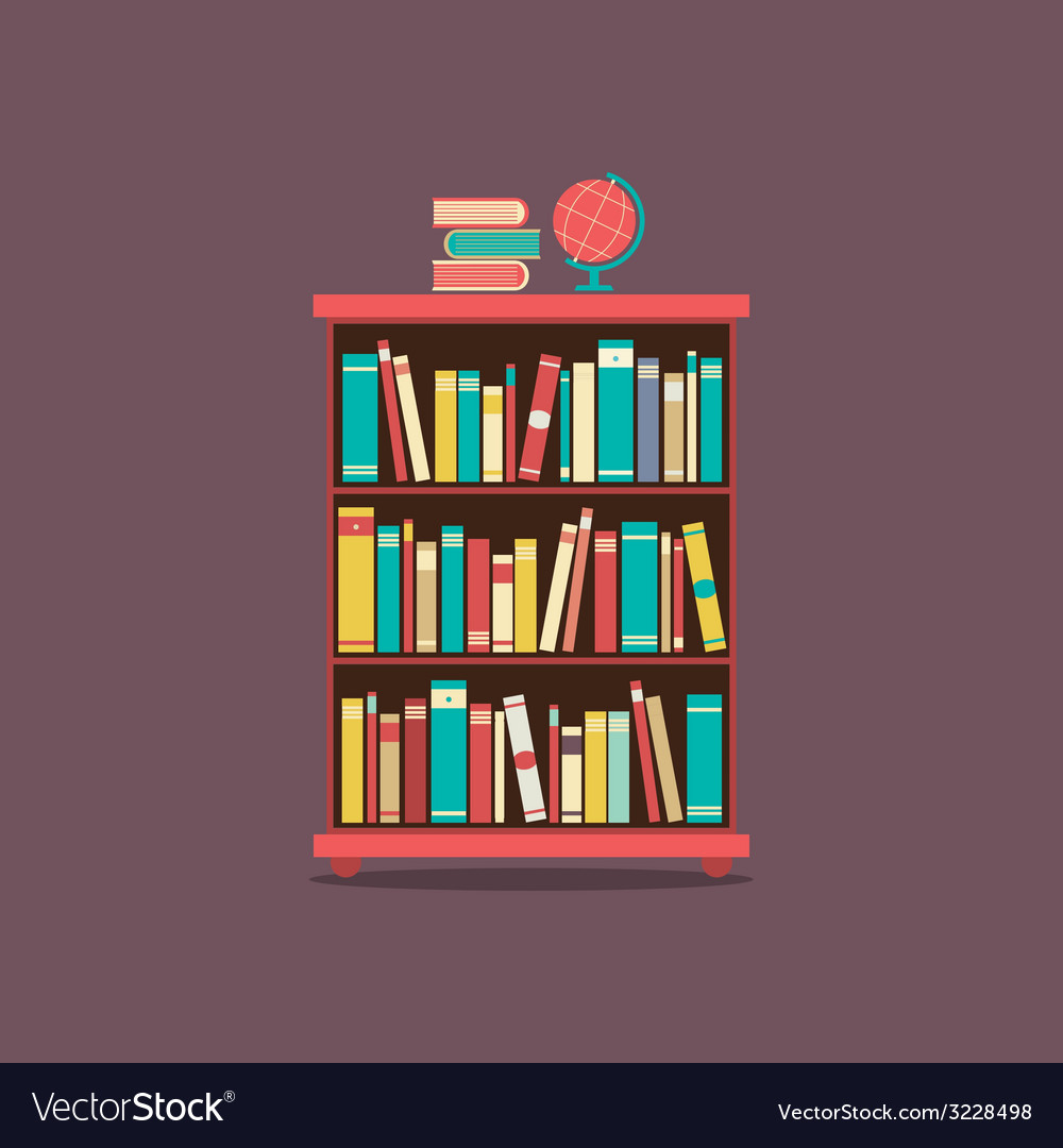 Flat design book cabinet vector | Price: 1 Credit (USD $1)
