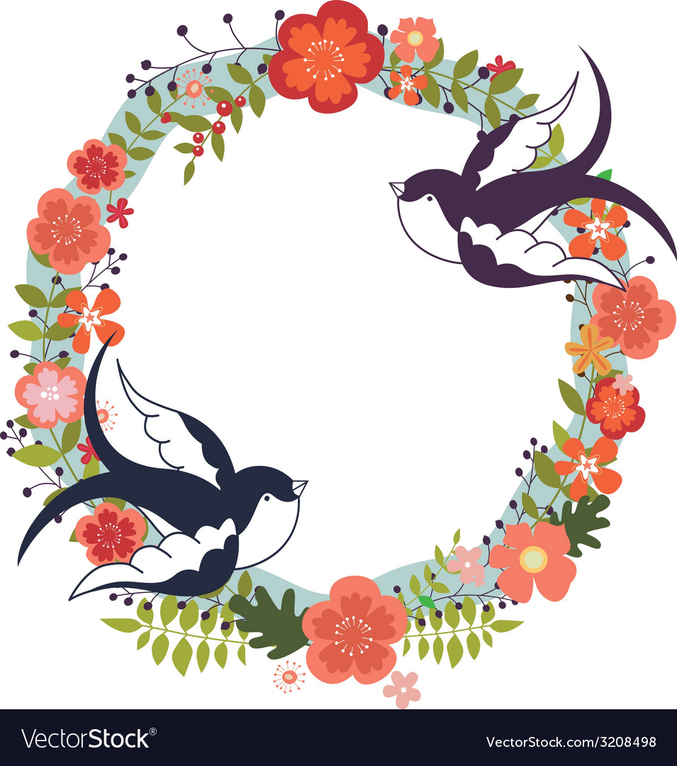 Floral wreath and swallows vector | Price: 1 Credit (USD $1)