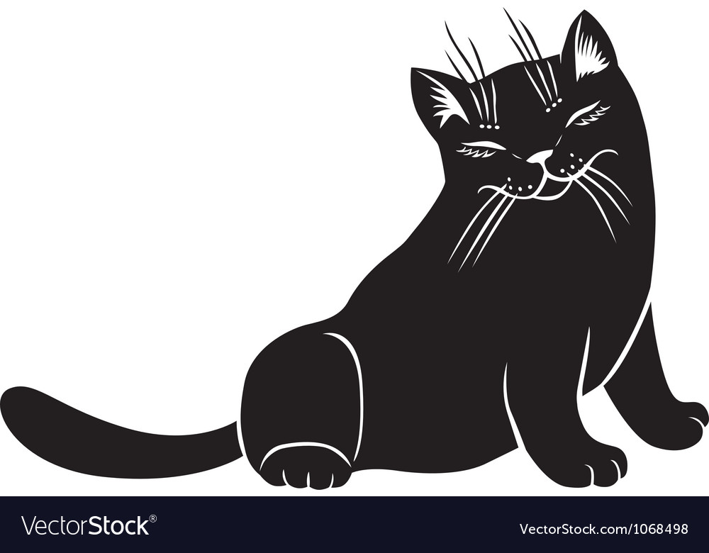 Fluffy cat blinks vector | Price: 1 Credit (USD $1)