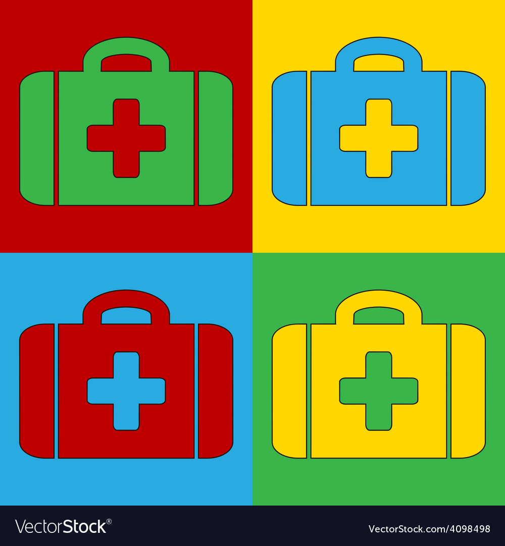 Pop art first aid icons vector | Price: 1 Credit (USD $1)