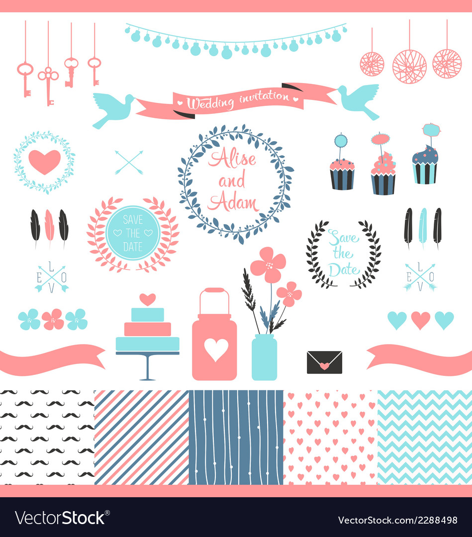 Set of elements for wedding design vector | Price: 1 Credit (USD $1)