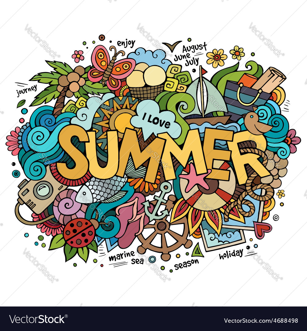 Summer hand lettering and doodles elements vector | Price: 1 Credit (USD $1)