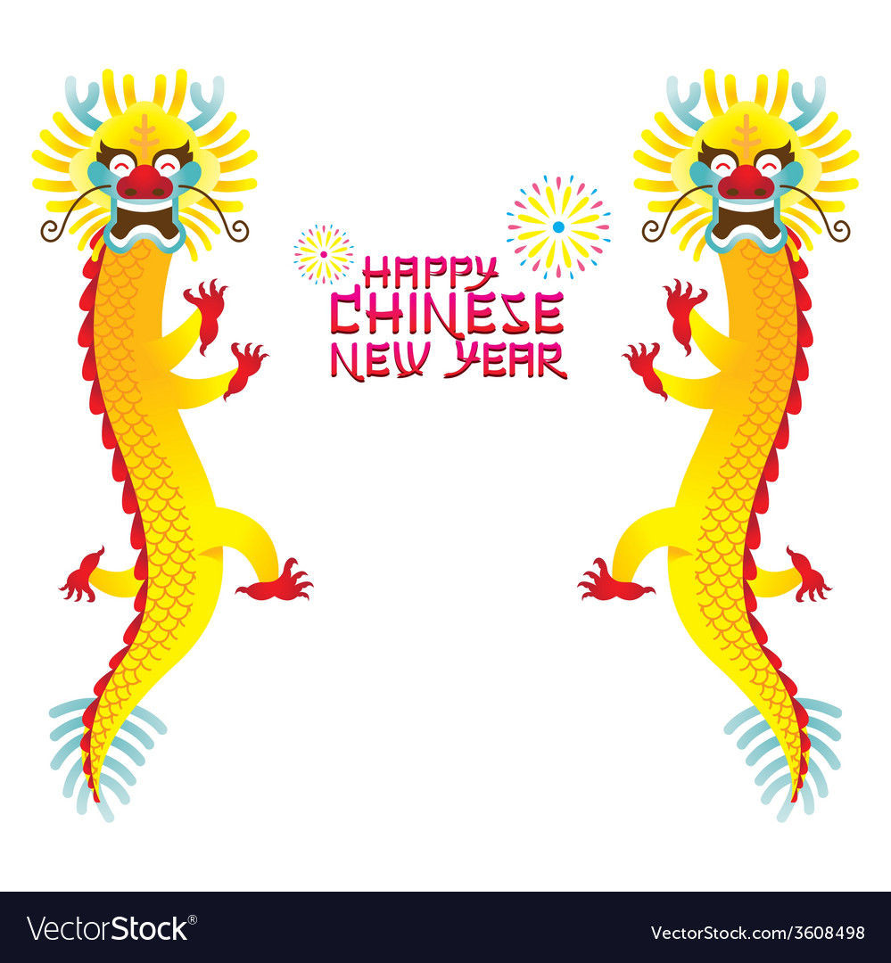 Twin chinese dragon and chinese new year vector | Price: 1 Credit (USD $1)