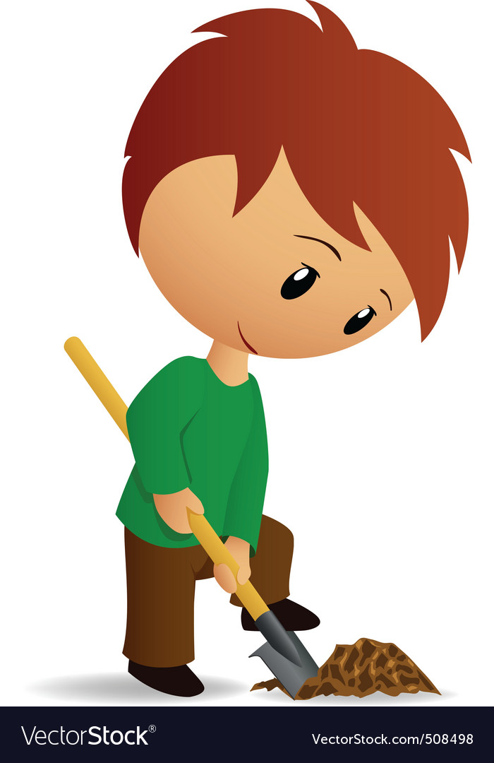 Young man working digger with spade vector | Price: 1 Credit (USD $1)