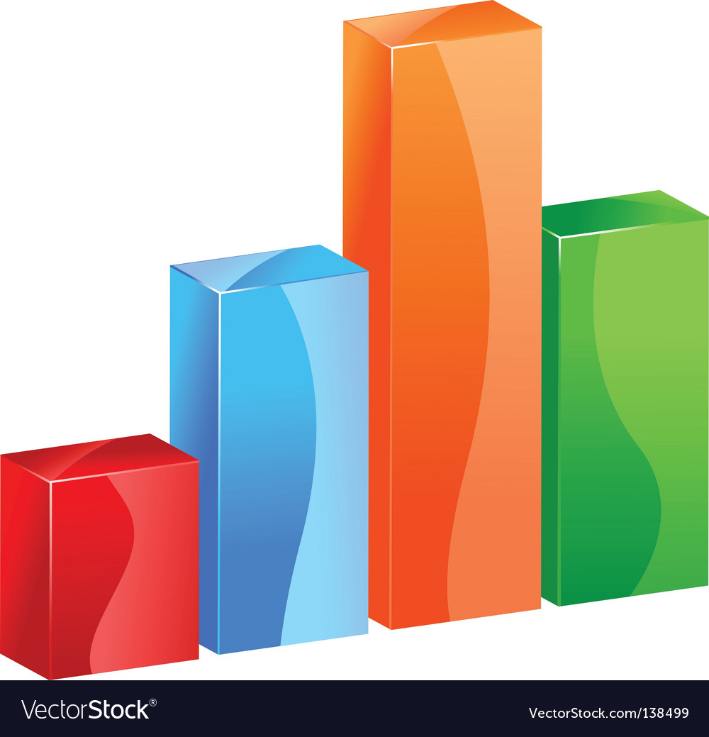3d color bar graph histogram vector | Price: 1 Credit (USD $1)