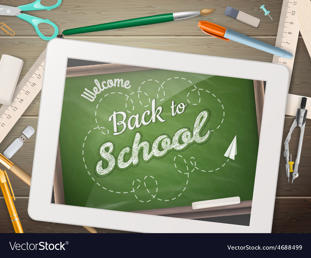 Back to school with tablet eps 10 vector | Price: 3 Credit (USD $3)