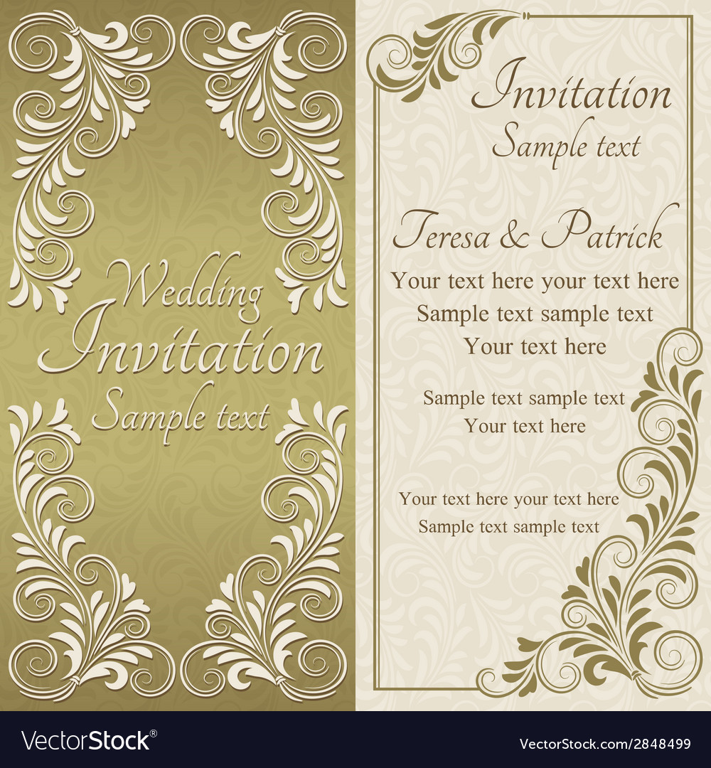 Baroque invitation gold and beige vector | Price: 1 Credit (USD $1)